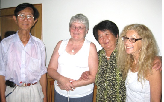 Survivors An Xian Ma and Jia Zhen Ma with two members of our group, Linda Grandfield (2nd from left) and Leah Brown-Klein (4th from left)